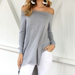 Tops - Sexy off shoulder thin sweatshirt type cotton